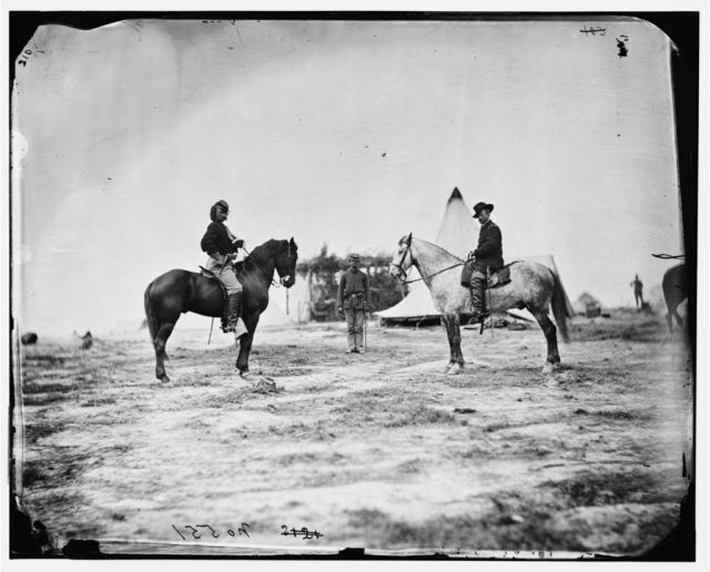 Capt. George A. Custer and Gen. Alfred Pleasonton on horseback by O'Sullivan