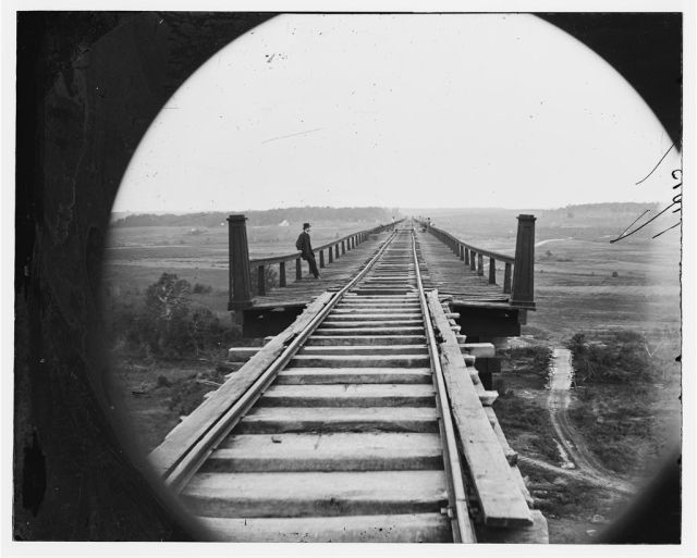 High bridge of the South Side Railroad across the Appomattox by O'Sullivan